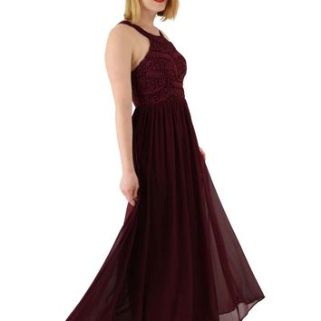 Cutaway Shoulder Burgundy Chiffon Lace Gown