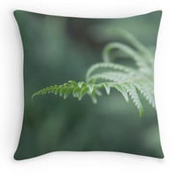 Fern Fronds Throw Pillow, Green Scatter Cushion, 16x16, Minimalist, Woodland Walk Cushion Cover