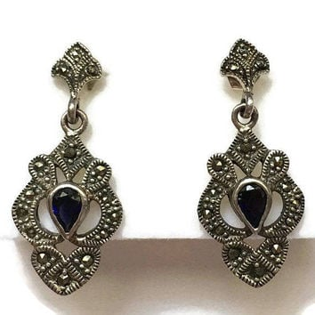 Sterling Marcasite and Blue Stone Dangle Earrings Posts Vintage Signed CW
