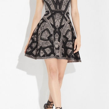 Black Lace Print Skater V-Neck Bandage Dress