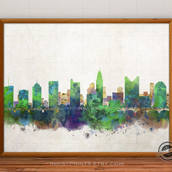 Columbus Skyline Watercolor Poster, Ohio Print, Cityscape, City Painting, States, Illustration Art Paint, Giclee Wall, Home Decor