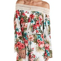 Crochet & Tropical Print Off-the-Shoulder Romper