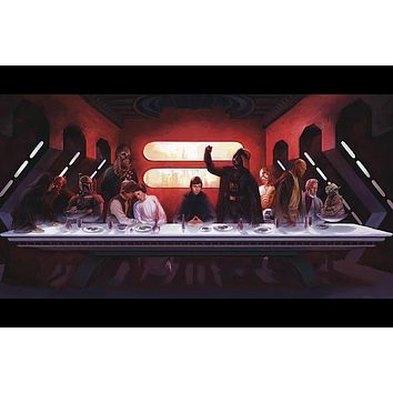 Star Wars, Anakin Skywalker, Darth Vader,yoda,The Last Supper, nny Movie Poster waterproof Canvas Fabric Print Wall Art Decor