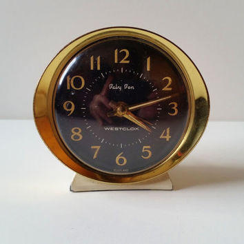 Bedside Clock, Baby Ben Westclox Alarm Clock Vintage Mid Century Wind Up Clock, Cream with Black and Gold Face, Working Analogue, 1960s MCM