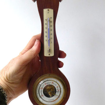 Vintage small colonial style barometer and thermometer