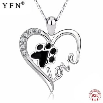 Genuine 925 Sterling Silver Love Heart Necklace Puppy Animal Paw Print Pendants Necklaces Fashion Jewelry Gift Women GNX13875