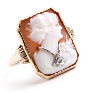 SALE - Antique 10K Gold & Diamond Cameo Ring -  Edwardian Habillé Carved Shell Size 6 Fine Jewelry / Necklace Accent