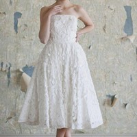 Tiffany Floral Wedding Dress | Tea Length Wedding Dresses And Floral Bridal Dresses At ShopRuche.com
