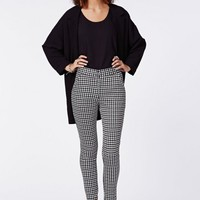 JESIE DOGTOOTH PRINT CIGARETTE TROUSERS