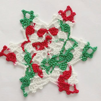 Crochet Christmas Coasters - Christmas Stars - Set Of Four - Handmade Coasters - Star Motifs - Christmas Doily - Home Decor - Tree Ornament