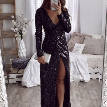 Black Sequin Side Slit V-neck Long Sleeve Fashion Maxi Dress
