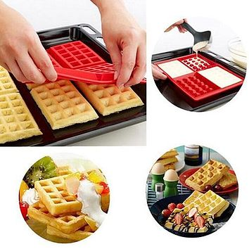 Useful Waffles Cake Chocolate DIY Pan Silicone Mold Baking Mould Kitchen Tool