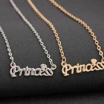 YYW Women Party Dress Wedding Romantic Jewelry Gold-color Letter Princess Love Heart Crown Charms Pendant Chain Chorker Necklace