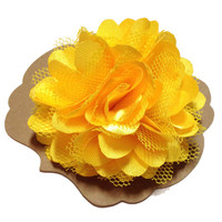 Yellow Satin & Mesh Lapel Flower, Mens Lapel Flower, Mens Lapel Pin, Mens Boutonniere, Wedding Boutonniere, Wedding Lapel Pin