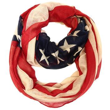 Antiqued American Flag Infinity Scarf