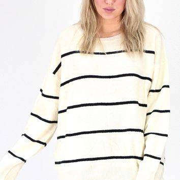 Stripe Perfect Boxy Sweater {Ivory/Black}