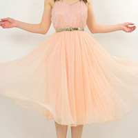 Vintage 50s 60s Sheer pink chiffon beaded party dress