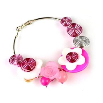 AOLOSHOW Boho Big flower hoop earrings Women aluminium wire wrapped earring with mother of simulated pearl shell purple ER-578