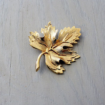 Maple Leaf Brooch - Vintage Costume Jewelry - Gold Tone Leaf Pin - Bohemian Chic Jewelry - Earth Jewelry