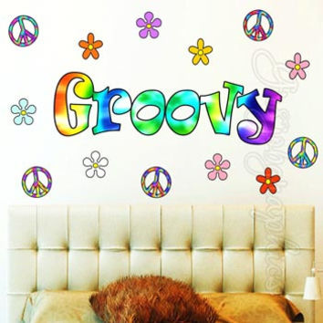 Retro Flowers Wall Decal Hippie Groovy Love Peace Sign Wall Art Sticker HF4