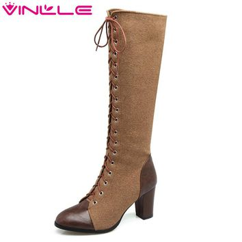 VINLLE 2018 Women Shoes Knee High Boots Pointed Toe Square High Heel Lace Up Elegant Ladies Motorcycle Shoes Size 34-43