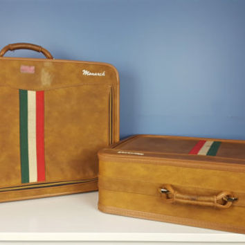 Vintage Monarch Suitcase Italian Flag Stripe Tan Green Red White Vintage Luggage with Lock Key Overnight Bag Travel Bag Mid Century Modern