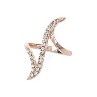 River Island Womens Rose gold tone crystal curve ring