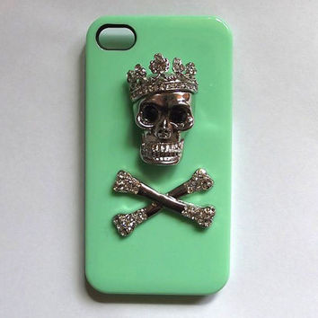 skull iphone 5 case - handmade iphone 4 case, mint iphone 4s cases, iphone 5 case 4s