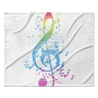 "Frederic Levy-Hadida ""Rainbow Key"" Multicolor Music Fleece Throw Blanket"