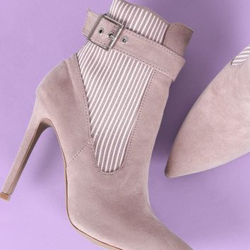 Qupid Buckle Suede Stripe Knit Trim Stiletto Booties