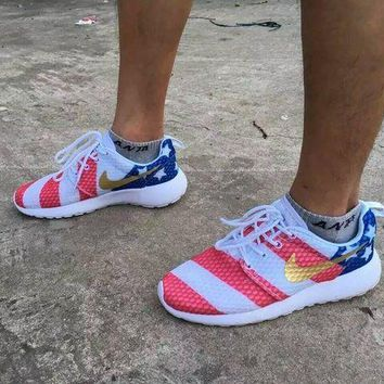 DCCKO03T Nike roshe run American Flag Men&Women Running Shoes