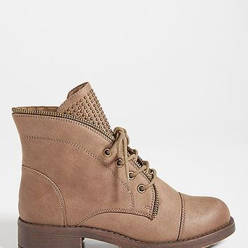Blayke faux leather bootie with studded tongue | maurices