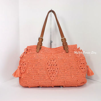 ON SALE Crochet Natural Raffia Celebrity Style Handbag with Genuine Leather Handles, Crochet Straw Tote Bag, Fashion Summer Handbag 2014