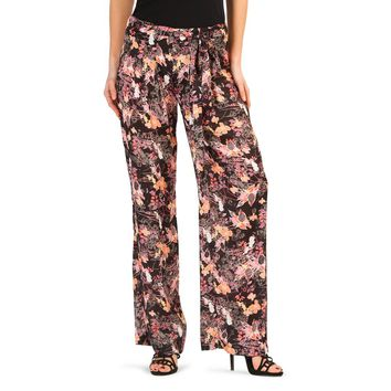 Annarita Black Floral Print Side Zip Pants