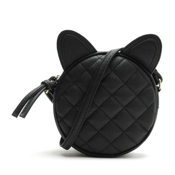 Cute Cat Ear Quilted Round Shoulder Bag
