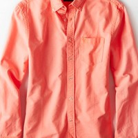 AEO Men's Solid Oxford Button Down Shirt (Red)