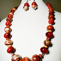 Graduated Faceted Red Jasper Necklace with Faceted Red Quartz Gemstones in Sterling Silver and Red Jasper Earrings*