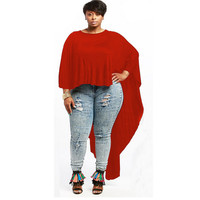 Red Batwing Sleeve Loose Long Back Top