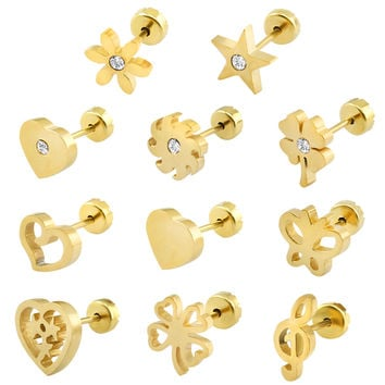 Gold Plated Stud Earrings 19 Styls Baby Girl Earrings High Quality Surgical Steel Kid Studs Body Jewelry Pendientes Hombre