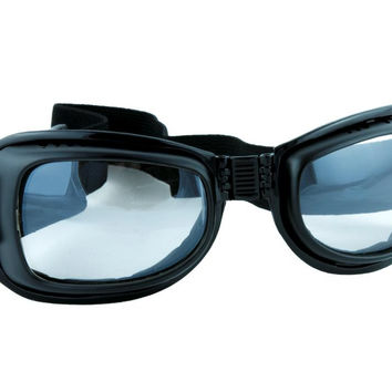 Clear Lens Black Frame Motorcycle Goggles Sport Sunglasses Cyber Goth Cosplay