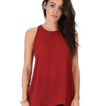 Lyss Loo At First Crush Sleeveless Burgundy Top With Keyhole Back