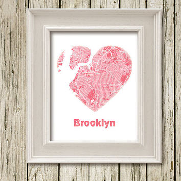 I Love BROOKLYN Heart Colored City Map Print Printable Instant Download Home Decor  Wall Decor C102pink