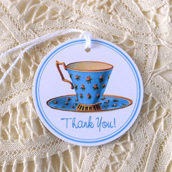 Teacup Thank You Tags Tea Party Tea Time Round Gift Tags Party Favors Hang Tags Blue Gold Fun For Birthdays Wedding Bridal Showers
