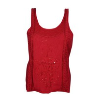 Mogul Womens Scoop Neck Red Top Sleeveless Sequin Embroidered Sexy Back Tunic Blouse - Walmart.com