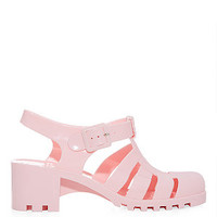 Pink Block Heel Jelly Sandals