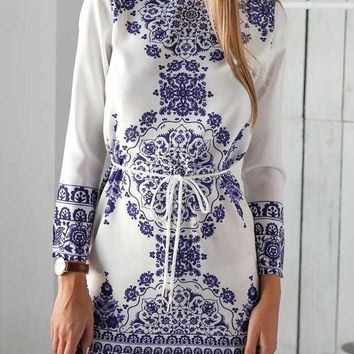 White Tile Print Long Sleeve Tie Waist Shift Mini Dress