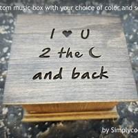 Music box custom engraved with I love you to the moon and back, with your choice of color and song, great gift for Mom, daughter or son