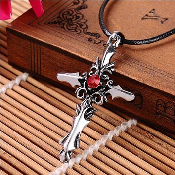 Limited Stainless Steel Cross Necklace with Red or White Centered Gem - Limited Inventory