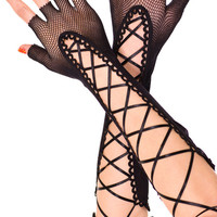 Black Lace up Mesh Fingerless Gloves