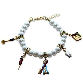 Dental Assistant Charm Bracelet in Gold